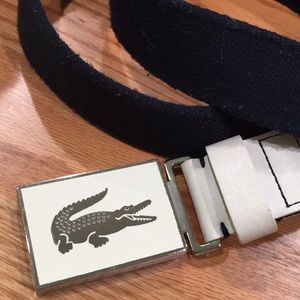e33dc955ea042f Lacoste Accessories - Lacoste belt white silver buckle black belt size L
